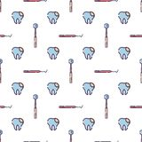 Vector seamless pattern on dental theme. Teeth and equipment for dentists. Used for backgrounds, cards, wallpapers stock illustration