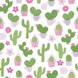 Vector seamless pattern with a desert prickly pear cactus and other cacti. stock illustration