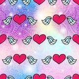 Flying heart romantic seamless pattern background. Vector seamless pattern design background with trendy hipster flying romantic heart cartoon style illustration vector illustration