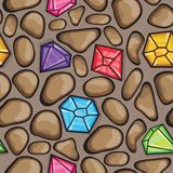 Vector seamless pattern of diamonds and  rock stones Royalty Free Stock Photos