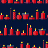 Vector seamless pattern of different burning red candles Royalty Free Stock Photo