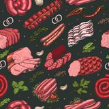 Vector seamless pattern with different color meat products in sketch style. Sausages, ham, bacon, lard, salami. Vector illustration for your design vector illustration