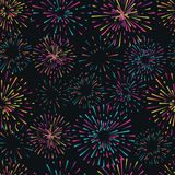 Vector seamless pattern with different colorful fireworks Royalty Free Stock Photos