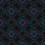 Vector seamless pattern with different colorful fireworks Royalty Free Stock Photography