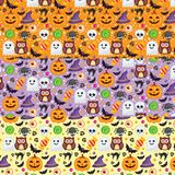 3 Vector seamless pattern different colors for Halloween. Can be used for scrapbook digital paper, textile print, page fill. Vector illustration Royalty Free Stock Photos