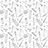 Vector seamless pattern with different drawing tools royalty free illustration