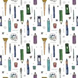Vector seamless pattern with different drawing tools stock illustration