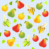 Vector Seamless pattern with different fruits Royalty Free Stock Images