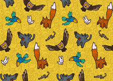 Vector seamless pattern with different hand drawn forest animals and birds Royalty Free Stock Photography