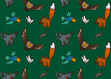 Vector seamless pattern with different hand drawn forest animals and birds Stock Photography