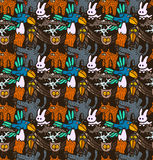 Vector seamless pattern with different hand drawn forest animals and birds Stock Image
