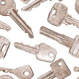 Vector seamless pattern with different keys Stock Photo