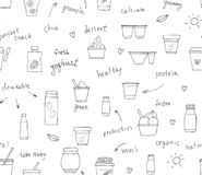 Vector seamless pattern of different kinds of yoghurt. Hand drawn repeating background of organic fresh dairy products with text. stock illustration