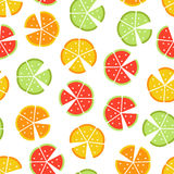 Vector seamless pattern with different slice citruses Royalty Free Stock Photo