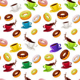 Vector seamless pattern with donuts and coffee Stock Photography