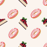Vector seamless pattern with donuts with glaze and cakes with berries on a white background. Pattern seamless vector illustration. Concept background picture Royalty Free Stock Photos