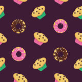 Vector seamless pattern with donuts glazed by chocolate and strawberry cream and muffins. Design for booklet, menu, wrapping, text Royalty Free Stock Image