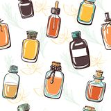 Vector seamless pattern with essential oil bottles. Vector seamless pattern with doodle bottles and flasks with essential oil on white background with twigs and vector illustration