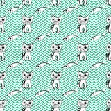 Vector seamless pattern with doodle cat and fish. Geometric background Royalty Free Stock Images