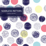Vector seamless pattern with doodle circles randomly distributed. Illustration wallpaper. Stock Image