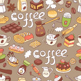 Vector seamless pattern with  doodle coffee. Equipment Royalty Free Stock Photo