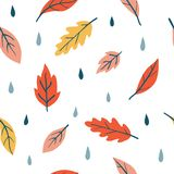 Vector seamless pattern with doodle fall leaves. And drops. Autumn rainy mood. Floral graphic design. Hand drawn vector botany texture. Cute cozy colorful royalty free illustration