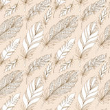 Vector Seamless Pattern with Doodle Feathers Stock Images