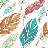 Vector Seamless Pattern with Doodle Feathers Royalty Free Stock Photo