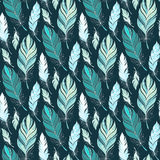 Vector Seamless Pattern with Doodle Feathers Stock Image