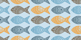 Vector Seamless Pattern with Doodle Fishes. Fully editable  eps 10 file with clipping masks and seamless pattern in swatch menu, fishes can be used separatele Stock Photography