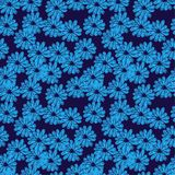 Vector seamless pattern with doodle flowers. Blue and black colors vector illustration