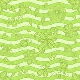 Vector seamless pattern, doodle flowers. Green Royalty Free Stock Photo