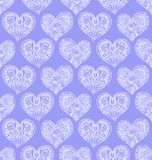 Vector seamless pattern from doodle hand drawn heart. White hearts on violet background. Background for Saint Valentines Day. Symbol of love. Heart in Royalty Free Stock Photography