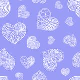 Vector seamless pattern from doodle hand drawn heart. White hearts on violet background. Background for Saint Valentines Day. Symbol of love. Heart in Royalty Free Stock Photo