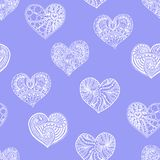 Vector seamless pattern from doodle hand drawn heart. White hearts on violet background. Background for Saint Valentines Day. Symbol of love. Heart in Stock Photo