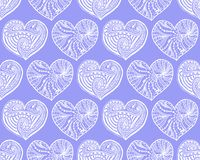 Vector seamless pattern from doodle hand drawn heart. White hearts on violet background. Background for Saint Valentines Day. Symbol of love. Heart in Stock Photography