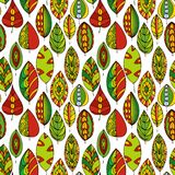 Vector seamless pattern with doodle leaves Stock Photos