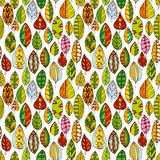 Vector seamless pattern with doodle leaves Royalty Free Stock Photos
