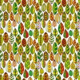 Vector seamless pattern with doodle leaves Stock Photo