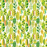 Vector seamless pattern with doodle leaves Stock Images
