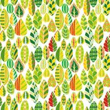 Vector seamless pattern with doodle leaves Royalty Free Stock Photography