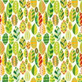 Vector seamless pattern with doodle leaves Royalty Free Stock Images