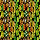 Vector seamless pattern with doodle leaves Royalty Free Stock Photo