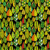 Vector seamless pattern with doodle leaves Stock Image
