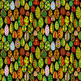 Vector seamless pattern with doodle leaves Royalty Free Stock Image