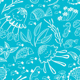 Vector seamless pattern with doodle marine underwater life. Background with cute fish, jellyfish and seahorse in cartoon style Royalty Free Stock Photos