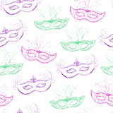 Vector seamless pattern with doodle masks Stock Images