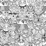 Vector Seamless Pattern with Doodle owls stock illustration