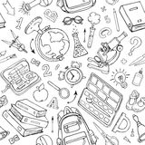 Vector seamless pattern of doodle school supplies. Sketchy background Royalty Free Stock Photos