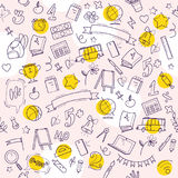 Vector seamless pattern with doodle school supplies  on white background. Line art. Linear back to school elements design. Good for banner, packaging paper Royalty Free Stock Images